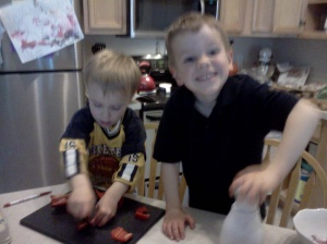 Kids chopping veggies